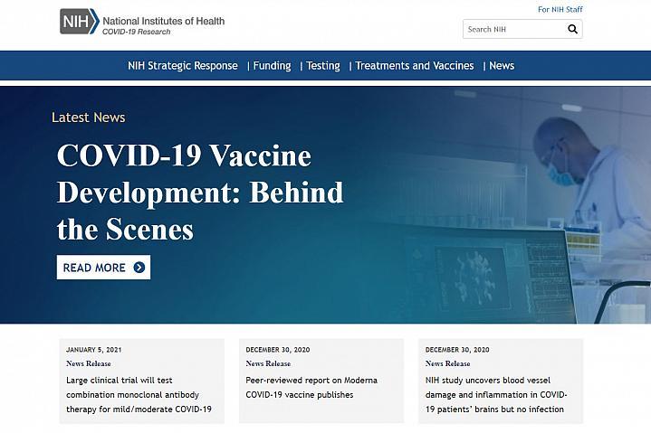 NIH COVID-19 Research website screenshot