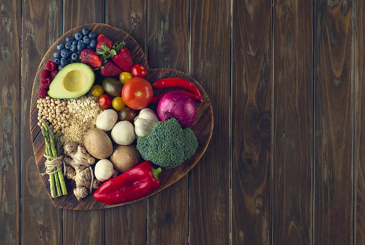 Healthy foods on a heart-shaped platter