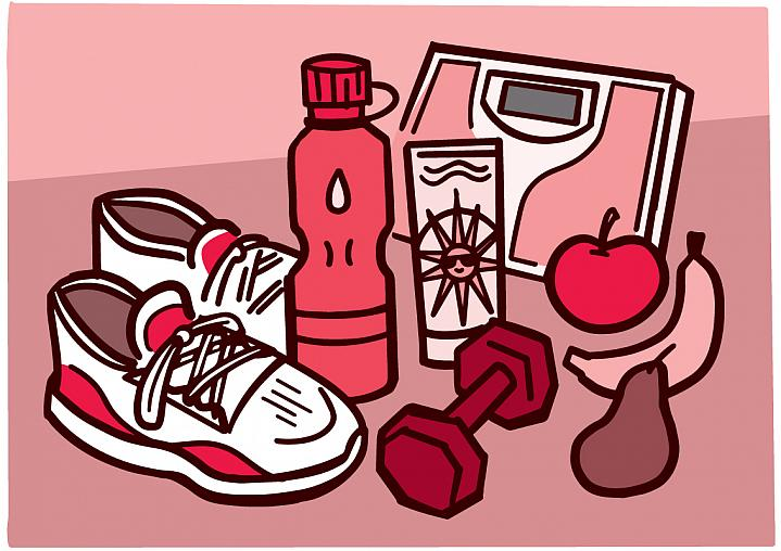 Illustration of a scale, sunscreen, exercise gear, and fruit