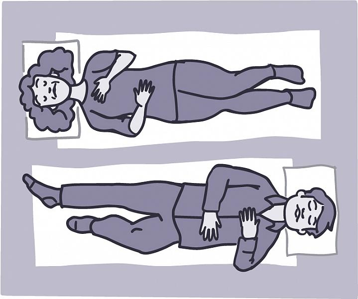 Illustration of a man and woman laying on the floor with one hand on their chest and the other on their belly