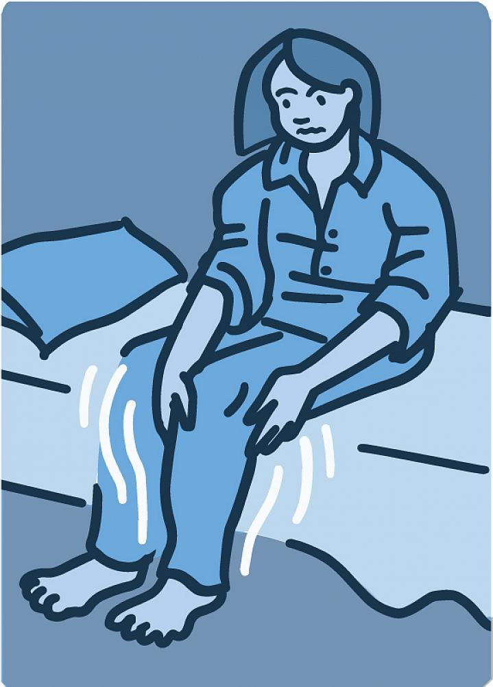Illustration of a woman sitting on the edge of her bed with restless legs