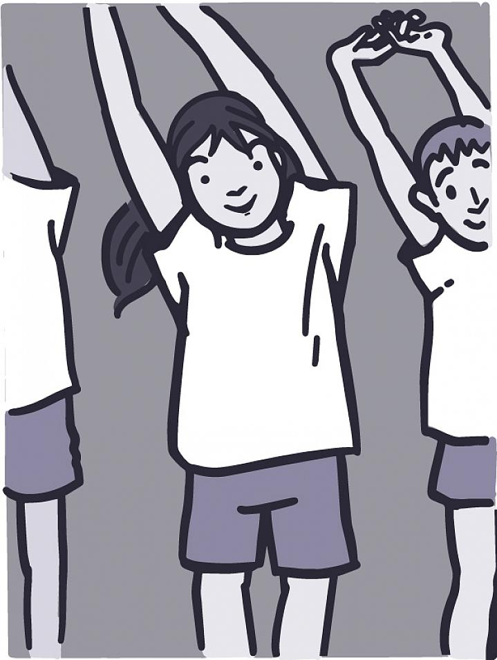 Illustration of kids doing physical therapy