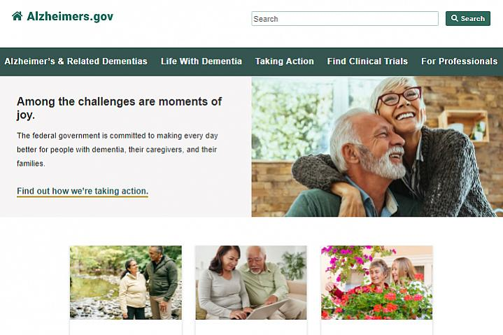 Screenshot of the Alzheimers.gov website