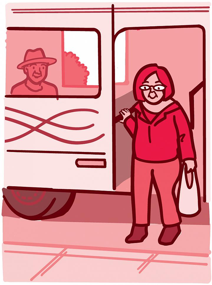 Illustration of an older adult getting off the bus