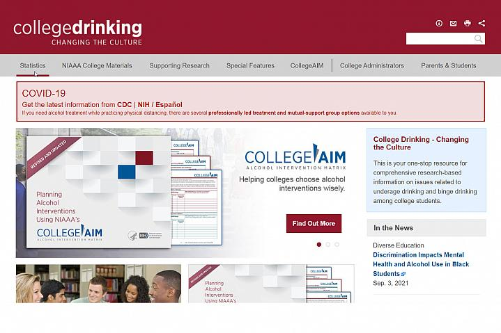 Screenshot of the College Drinking website