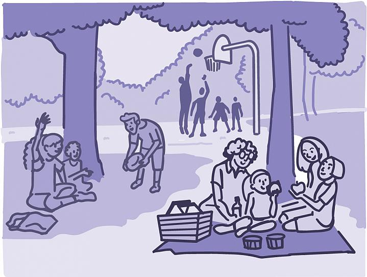 Illustration of families and friends being active together at a park