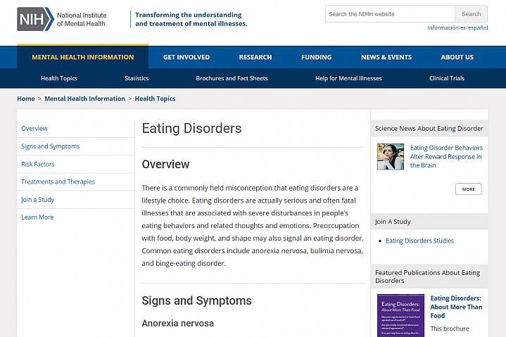 Screenshot of the eating disorders website