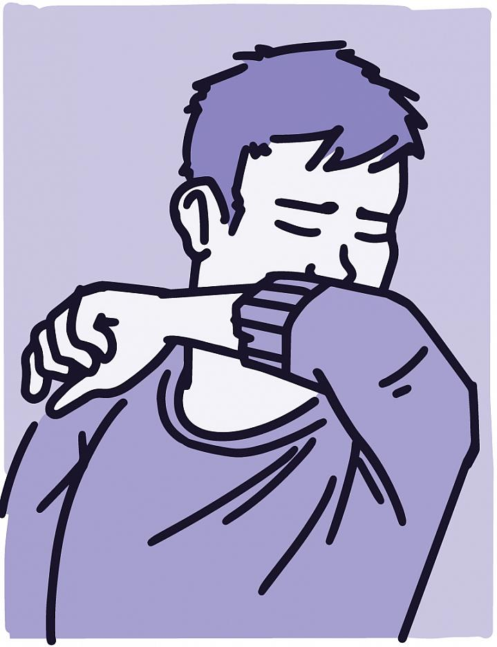 Illustration of a young person coughing into their elbow