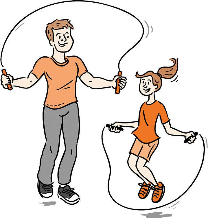 Illustration of a dad and daughter jumping rope
