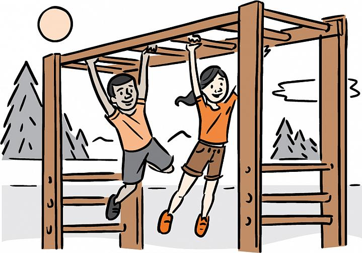 Illustration of two kids playing on the monkey bars