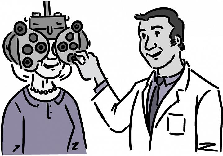 Illustration of an older woman getting an eye exam.