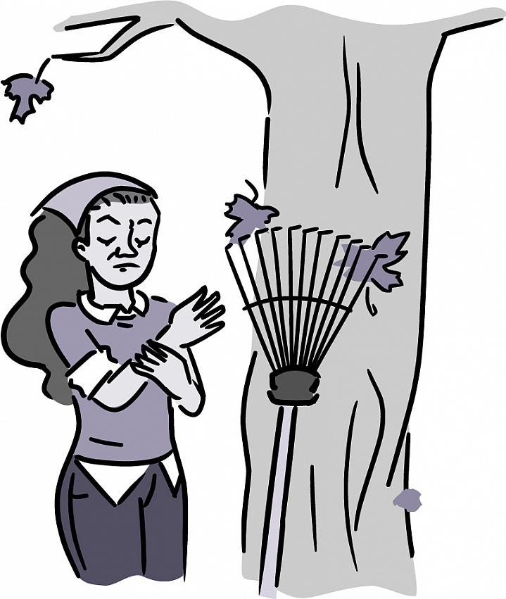 Illustration of a woman grasping her wrist after raking leaves