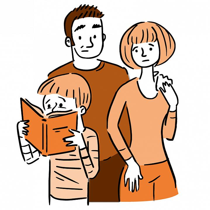 Illustration of worried parents watching a young child reading a book