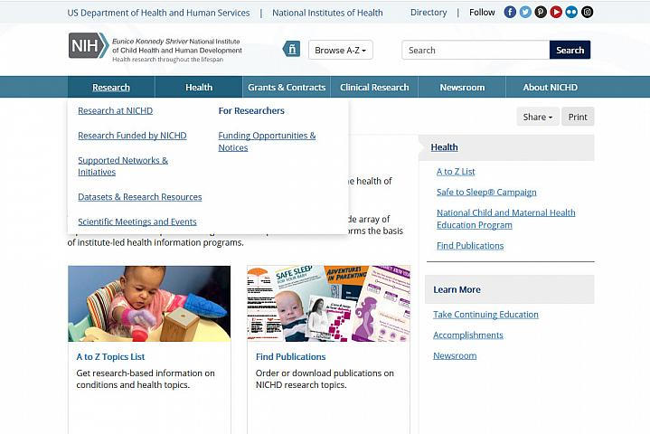 Screenshot of the child health website