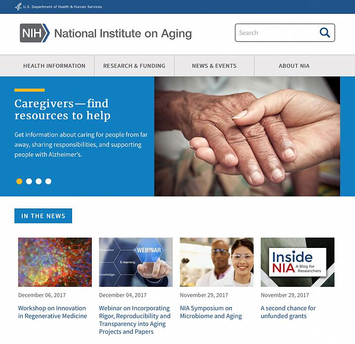 Screenshot of the National Institute on Aging website.